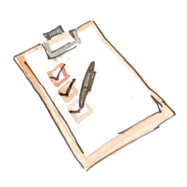 Watercolor clipboard with pen and checkmarks
